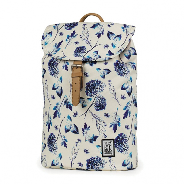 Rucsac mic The Pack Society Off White Blue Flower
