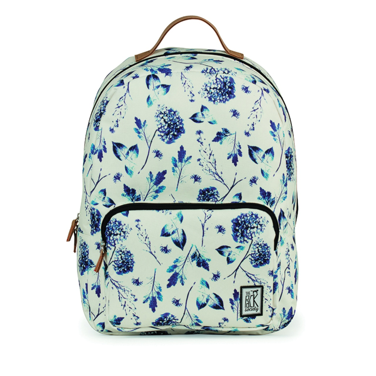 Rucsac clasic The Pack Society Off White Blue Flower