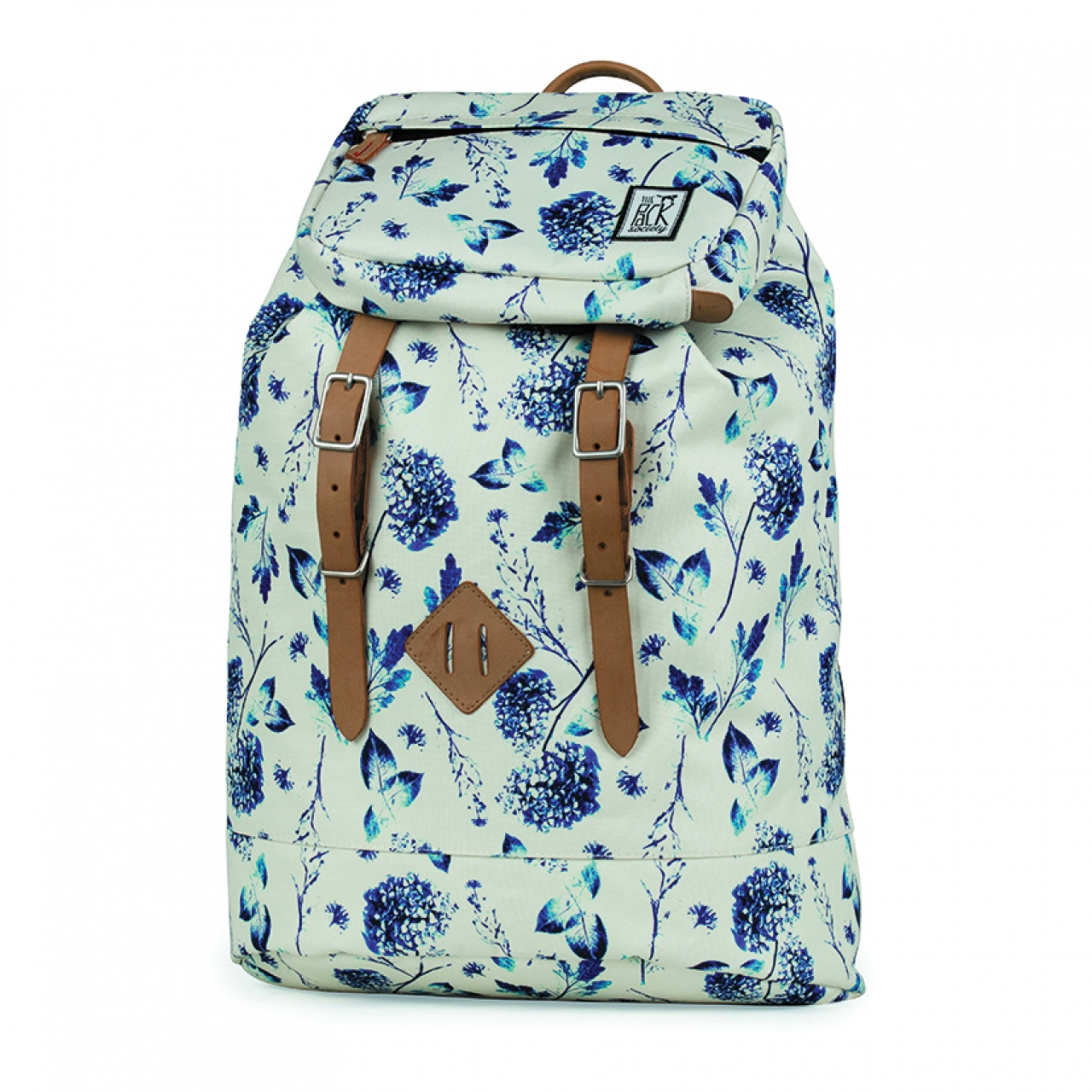 Rucsac mare The Pack Society Off White Blue Flower